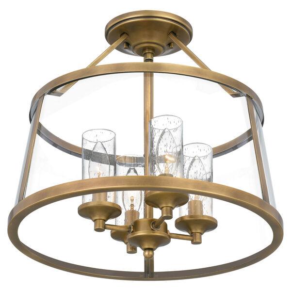 Barlow Weathered Brass Four-Light Semi-Flush Mount, image 4