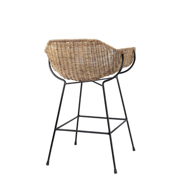 Nusa Natural Rattan and Black Steel Counter Stool, image 4
