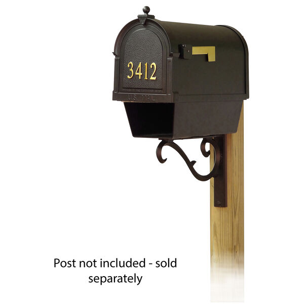 Curbside Black Mailbox with Front Address Numbers and Sorrento Front Single Mailbox Bracket, image 1