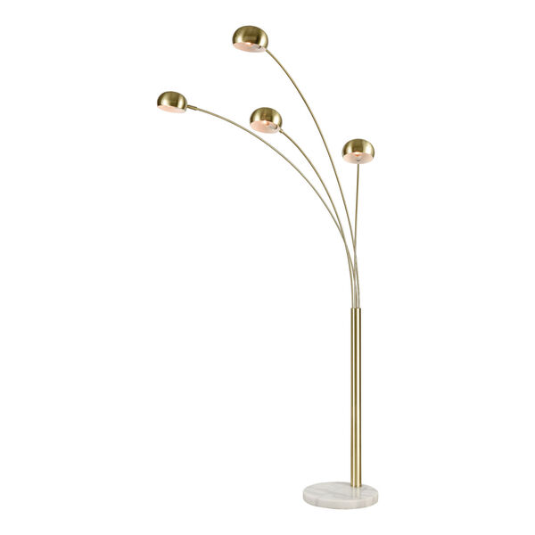 Skyline Satin Brass and White Marble 53-Inch Floor Lamp, image 1