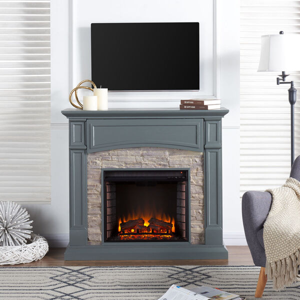 Seneca Cool Slate Gray Electric Media Fireplace with Weathered Stacked Stone, image 1