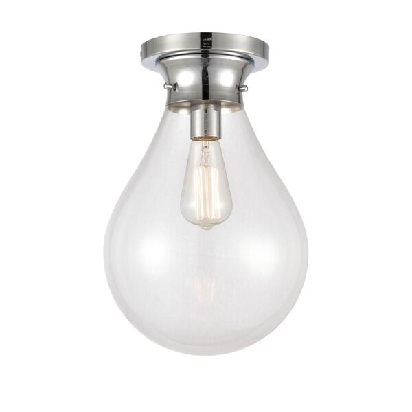 Genesis Polished Chrome 10-Inch One-Light Flush Mount with Clear Glass Shade, image 1