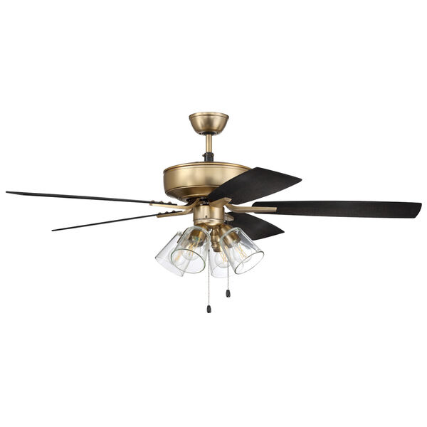 Pro Plus Satin Brass 52-Inch Four-Light Ceiling Fan, image 1