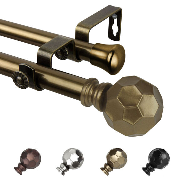 Christiano Antique Brass 84-Inch Double Curtain Rod, image 1