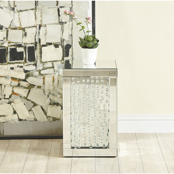 Modern Mirrored 20-Inch Crystal End Table, image 2