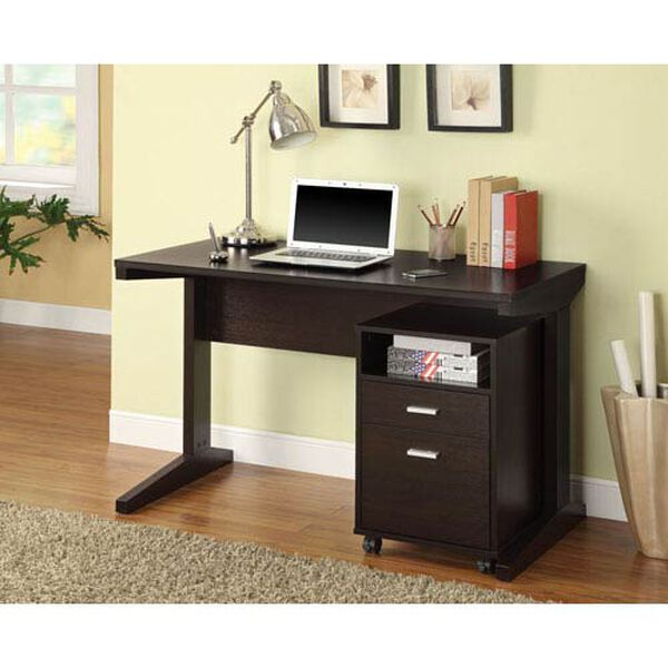 Cappuccino Two-Piece Writing Desk Set with Rolling File Cabinet, image 1