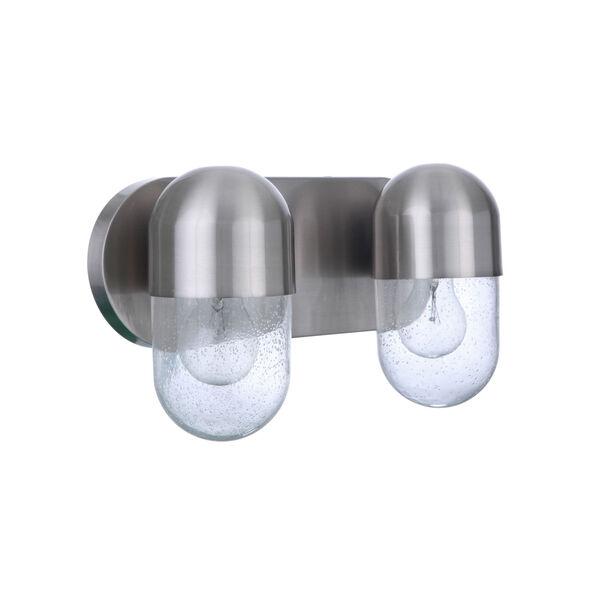 Pill Brushed Polished Nickel Two-Light Vanity Light, image 1