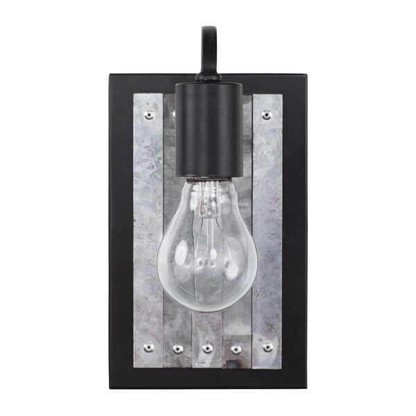 Abbey Rose Black and Galvanized One-Light Sconce, image 2