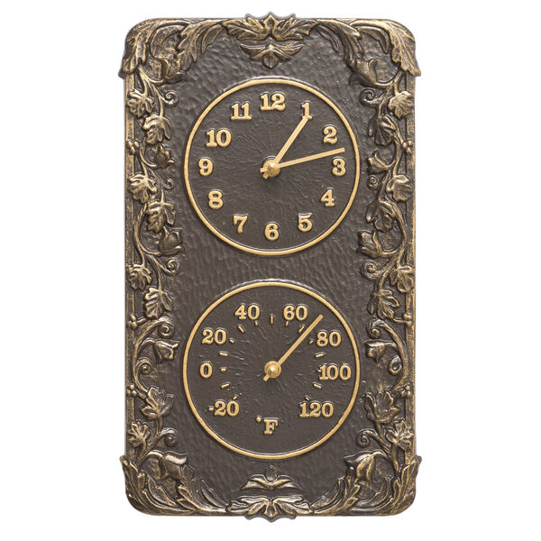 Acanthus French Bronze Indoor Outdoor Wall Clock and Thermometer, image 1
