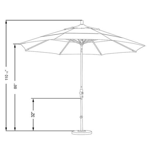 11 Foot Umbrella Aluminum Market Collar Tilt Double Vent Matted Black/Sunbrella/Black, image 2