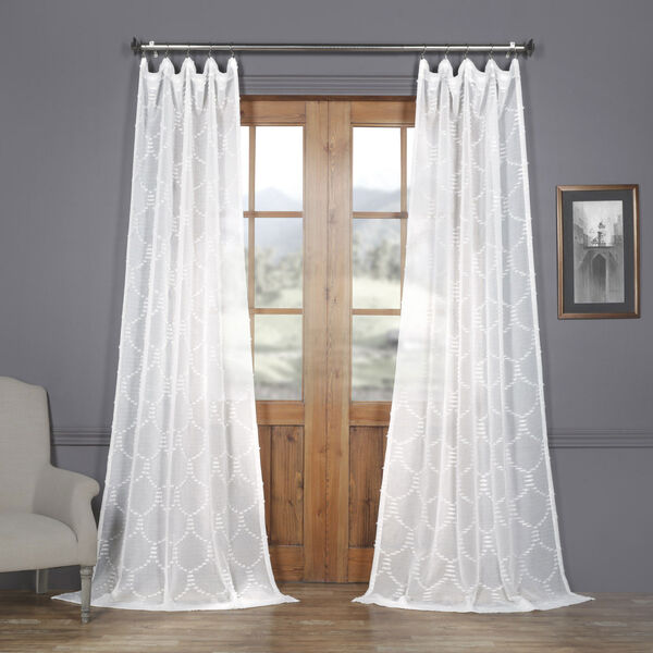 White Shell Patterned Faux Linen Sheer 84 x 50 In. Curtain Single Panel, image 1