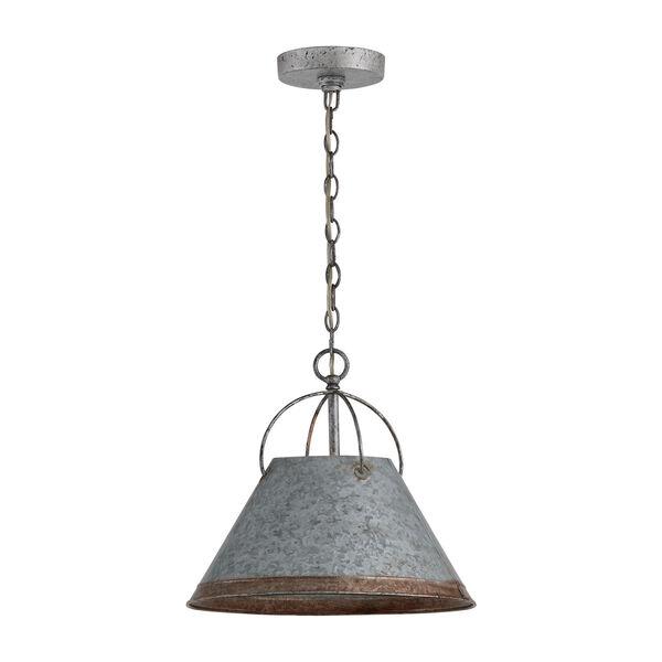 Alvin Antique Galvanized Metal Cone One-Light Pendant, image 1
