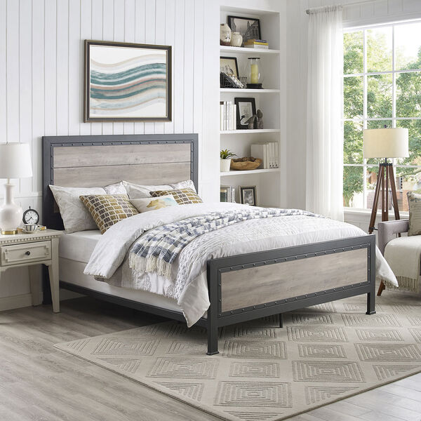 Queen Size Industrial Wood and Metal Bed - Grey Wash, image 1