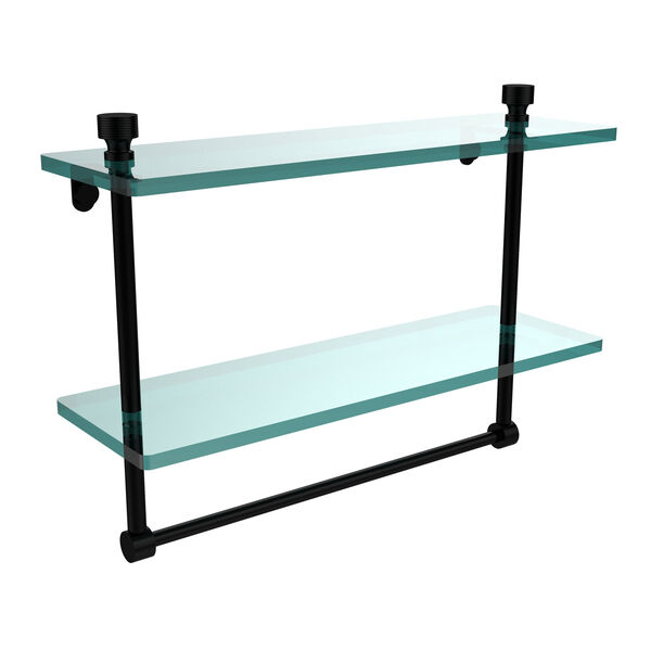 Matte Black 16 Inch Double Glass Shelf with Towel Bar, image 1