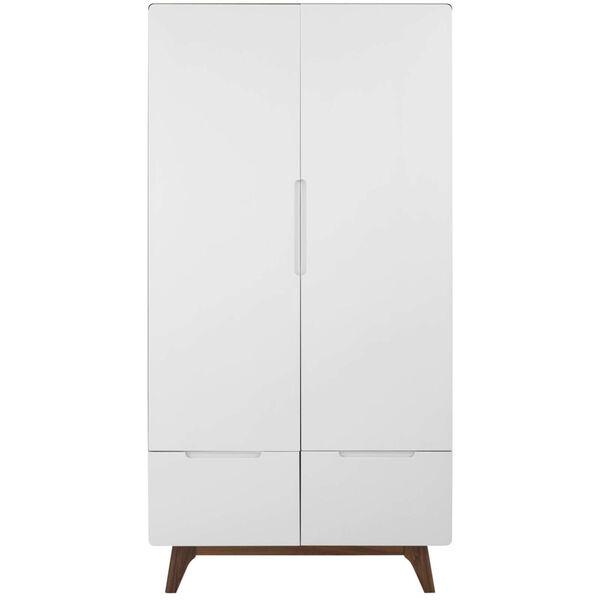 Uptown Walnut White Wood Wardrobe Cabinet, image 3