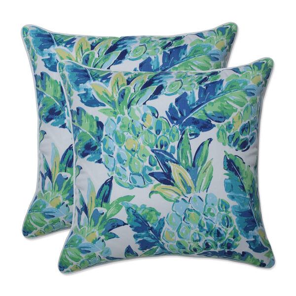 Vida Blue Green White 18-Inch Throw Pillow, Set of Two, image 1