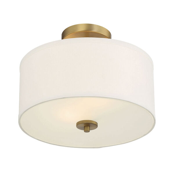 Selby Natural Brass Two-Light Semi Flush Mount with White Fabric Shade, image 4