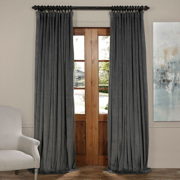 Natural Gray 96 x 100-Inch Doublewide Blackout Velvet Curtain, image 1