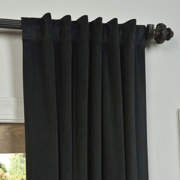 Signature Warm Black Blackout Velvet Pole Pocket Single Panel Curtain, 50 X 108, image 4