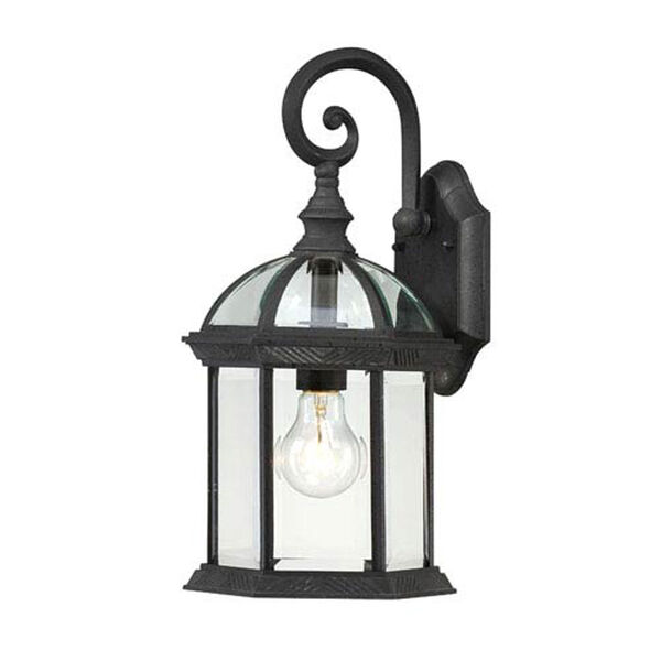 Webster Textured Black 16-Inch One-Light Outdoor Wall Sconce with Beveled Glass, image 1