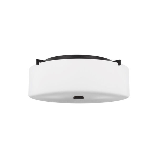 Sunset Drive Oil Rubbed Bronze Three-Light Flush Mount with White Opal Etched Shade, image 1
