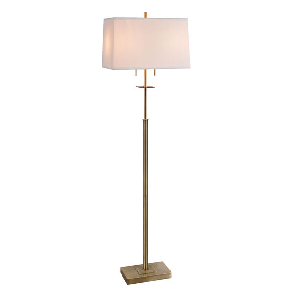 Amina Antique Brass Two-Light Shaded Floor Lamp, image 1