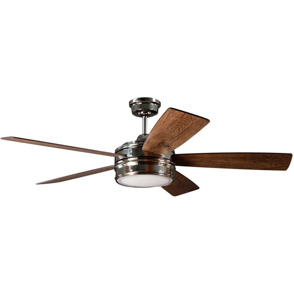 Braxton Polished Nickel Ceiling Fan with LED Light, image 1