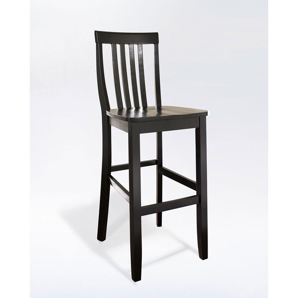School House Bar Stool in Black Finish with 30 Inch Seat Height- Set of Two, image 1