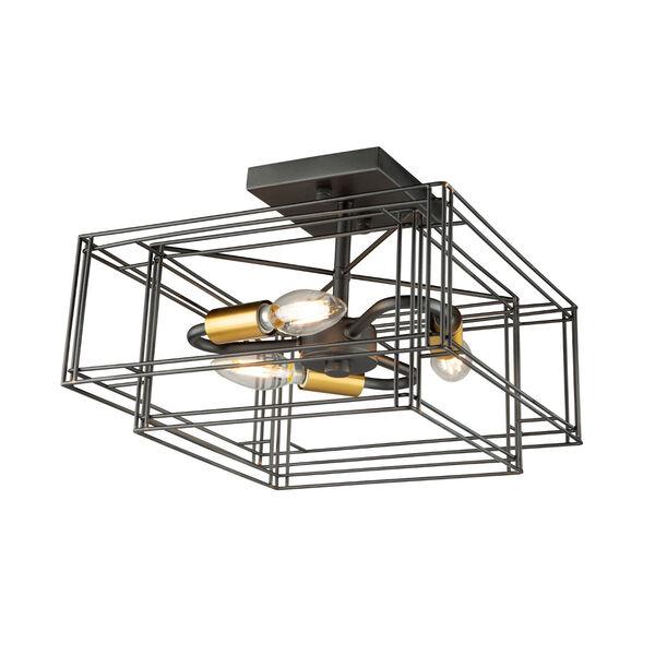 Artisan Black and Brushed Brass Three-Light Semi-Flush Mount, image 1