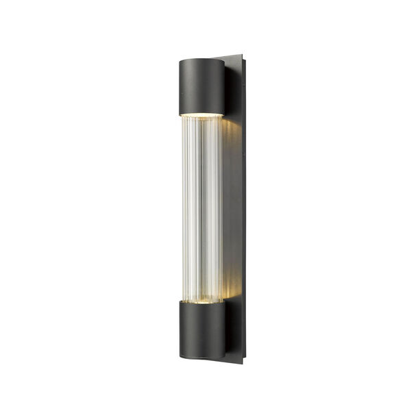 Striate Black LED Two-Light Outdoor Wall Sconce With Transparent Optic Glass, image 1