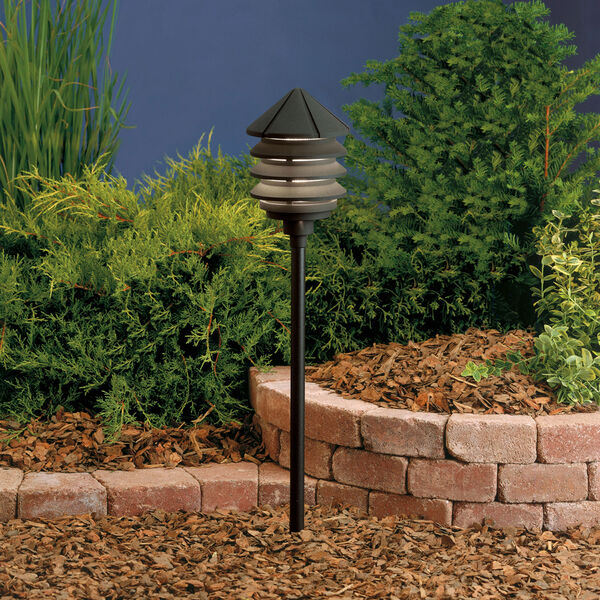 Six Groove Textured Black 9.5-Inch One-Light Landscape Path Light, image 1