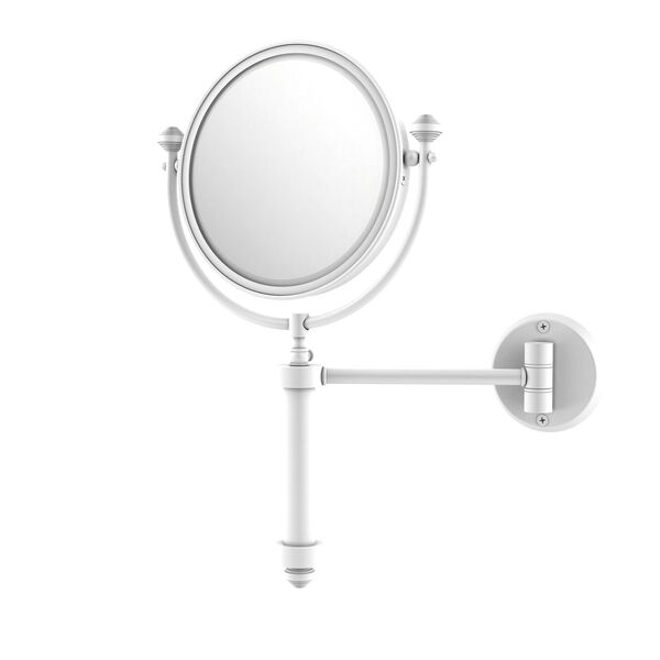 Southbeach Matte White Eight-Inch Wall Mounted Make-Up Mirror with 5X Magnification, image 1