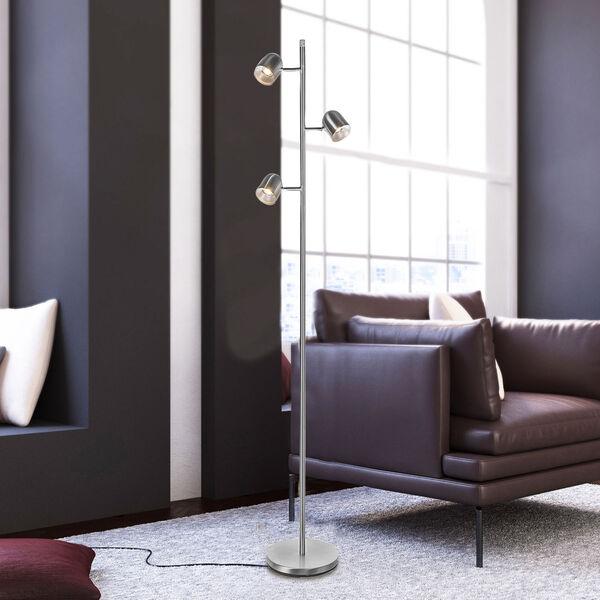 Tiara Brushed Nickel Three-Light LED Floor Lamp, image 2
