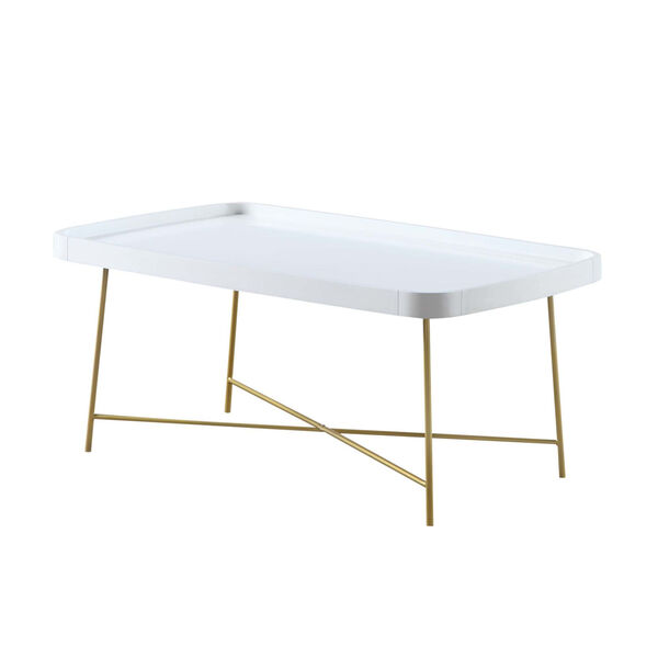 Lunar White and Gold Coffee Table, image 1
