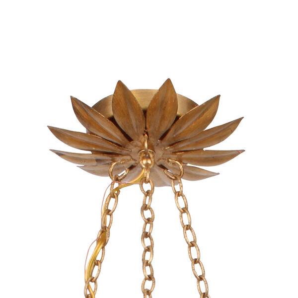 Broche Antique Gold Six-Light Gold Leaf Pendant Chandelier, image 4