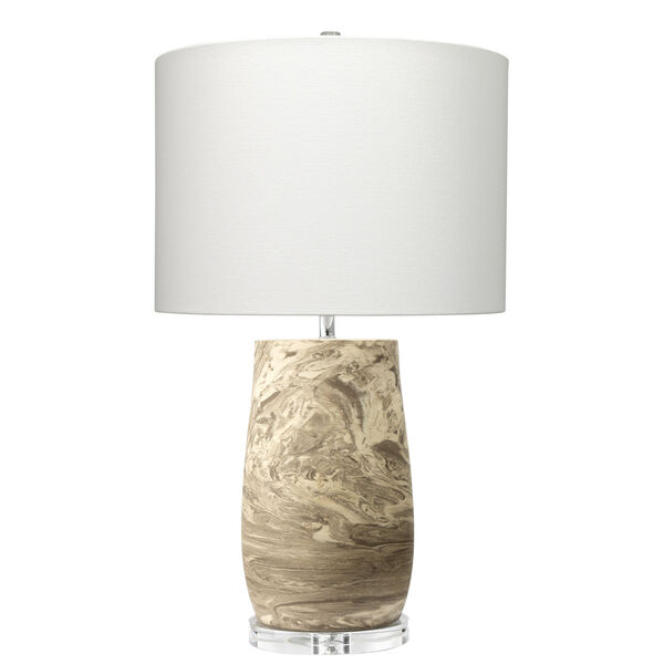 Aldrich Light Brown and Off White Reactive Glaze One-Light Table Lamp, image 1