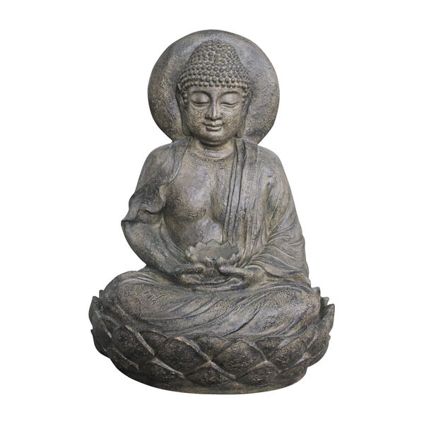 Stone Grey Outdoor Buddha Zen Fountain with LED Light, image 1