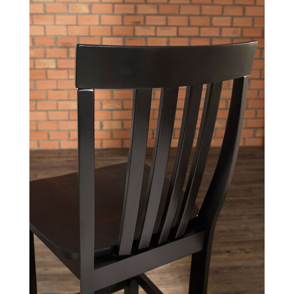 School House Bar Stool in Black Finish with 30 Inch Seat Height- Set of Two, image 4