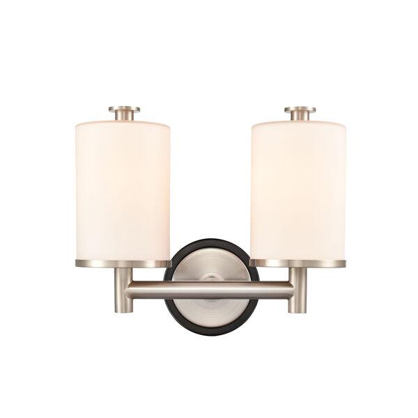 Marlowe Matte Black Satin Nickel Two-Light Bath Vanity, image 1