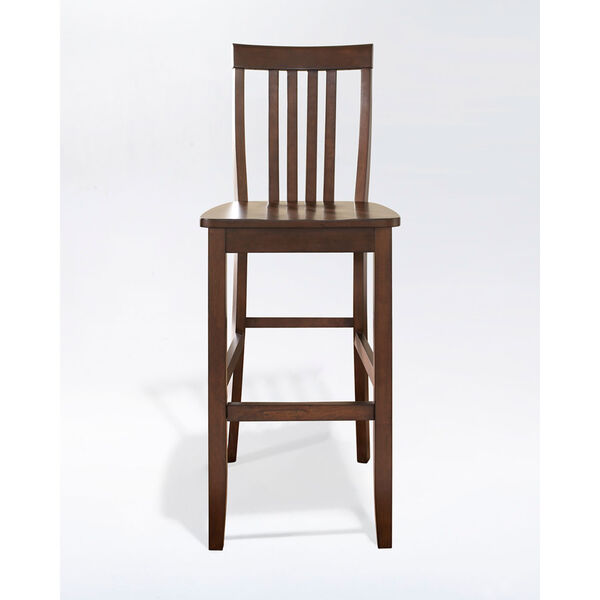 School House Bar Stool in Mahogany Finish with 30 Inch Seat Height- Set of Two, image 2