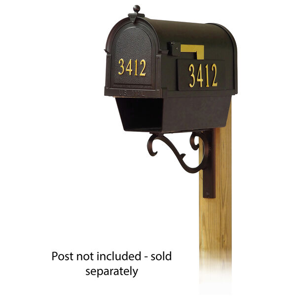 Curbside Black Mailbox with Front and Side Address Numbers and Sorrento Front Single Mounting Bracket, image 1