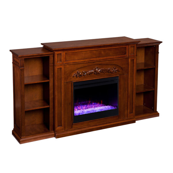 Chantilly Autumn oak Color Changing Electric Firplace with Bookcase, image 2