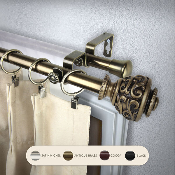 Eleanor Antique Brass 48-Inch Double Curtain Rod, image 2