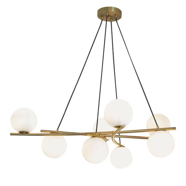 Perch Satin Brass Eight-Light Chandelier, image 1