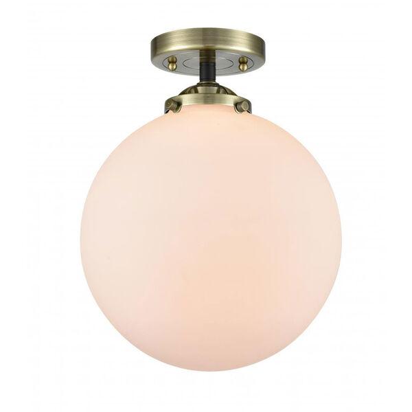 Nouveau Black Antique Brass 10-Inch One-Light Semi-Flush Mount with Seedy Globe Shade, image 1