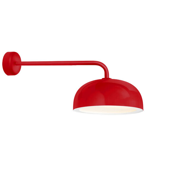Dome Red One-Light 16-Inch Outdoor Wall Sconce with 30-Inch Arm, image 1