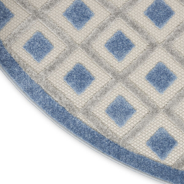 Aloha Blue and Gray 5 Ft. 3 In. x 5 Ft. 3 In. Round Indoor/Outdoor Area Rug, image 5