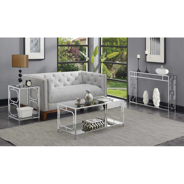 Omega Chrome Coffee Table with Clear Glass, image 5
