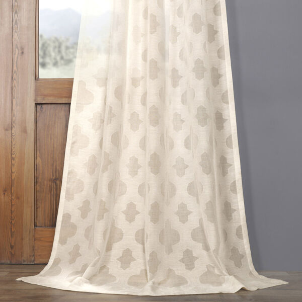 Ivory Tile Patterned Faux Linen Sheer 108 x 50 In. Curtain Single Panel, image 4