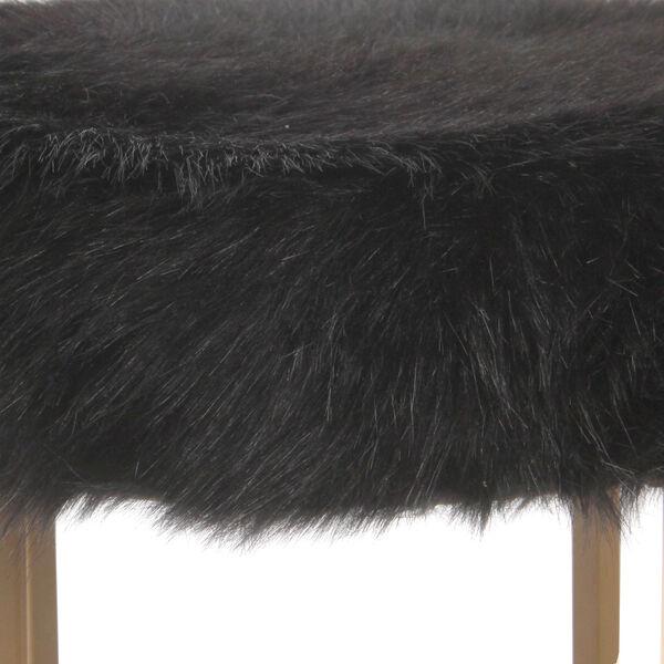 Faux Fur Round Ottoman - Black, image 5